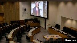 美国总统特朗普通过视频对联合国大会发表讲话。(2020年9月22日)