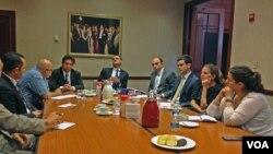 Başkent Washington'daki Türkiye Büyükelçiliği'nde yapılan bilgilendirme toplantısı