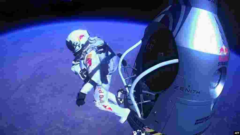 Baumgartner jumps out of the capsule during the final manned flight for Red Bull Stratos on Oct. 14, 2012.