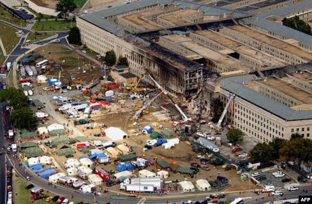 The Pentagon attack site is shown Friday, Sept. 14, 2001, after a plane slammed into the building on Tuesdady, Sept. 11. The terrorist attack caused extensive damage to the west face of the building. (AP Photo/Tech. Sgt. Cedric H. Rudisill)