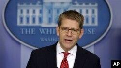 정례브리핑 중인 제이 카니 백악관 대변인. (자료사진)