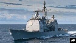 Kapal penjelajah USS San Jacinto (Foto: dok). Pentagon tengah menyelediki sebab-sebab tabrakan sebuah kapal selam angkatan laut AS USS Montpelier dengan kapal penjelajah USS San Jacinto, Sabtu (13/10).