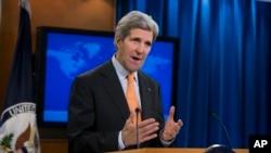 美国国务卿克里2014年1月16日在美国国务院发表有关叙利亚问题的谈话。