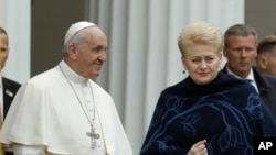 Папа Франциск и президент Литвы Даля Грибаускайте