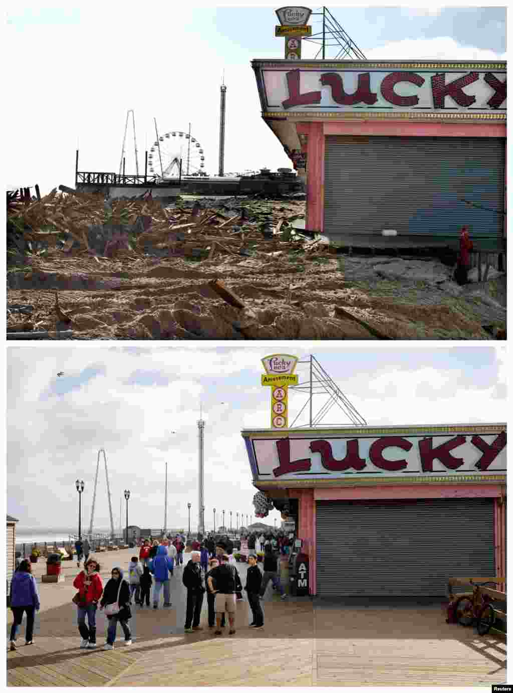 This combination of Nov. 22, 2012 and Oct. 13, 2013 photos shows debris left by Superstorm Sandy where the boardwalk had been in front of Lucky Leo's arcade in Seaside Heights, N.J. and the bottom photo shows people walking near Lucky Leo's one year later.
