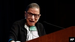U.S. Supreme Court Justice Ruth Bader Ginsburg speaks at the Georgetown University Law Center campus in Washington, Wednesday, Sept. 20, 2017.