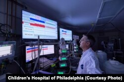 Marcus Davey working in the Center for Fetal Research lab at Children's Hospital in Philadelphia, Pa. (Credit: Children's Hospital of Philadelphia)