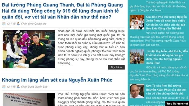 'Chân dung quyền lực' là trang blog một thời được nhiều người theo dõi, từng đăng tải nhiều bài về các 'phi vụ làm ăn' của gia đình Đại tướng Phùng Quang Thanh.