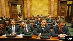 Ministar za Kosovo i Metohiju Goran Bogdanović i šef pregovaračkog tima u dijalogu sa Prištinom Borislav Stefanović prisustvuju sednici Odbora za Kosovo i Metohiju, u Skupštini Srbije.