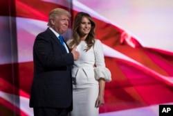 川普和川普夫人梅拉尼亚·川普和共和党代表大会上(2016年7月18日)