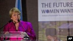 Giám đốc tổ chức phụ nữ Liên hiệp quốc Michelle Bachelet nói chuyện tại một hội nghị về phụ nữ
