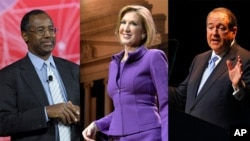 From left, Ben Carson, Carly Fiorina and Mike Huckabee have announced their campaigns for the Republican nomination for president.
