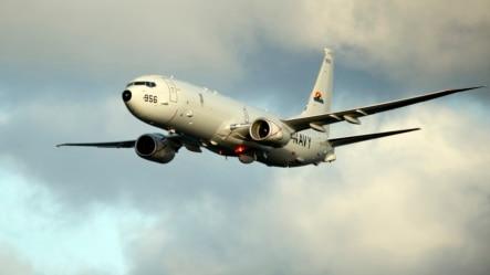 上星期三飞抵南中国海岛礁海域的美军P-8海神反潜侦察机