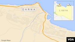 Peta wilayah Libya dan kota Darna.