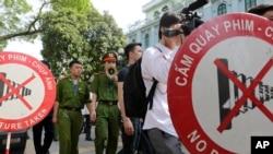 Ảnh tư liệu - lực lượng công an Việt Nam tại một cuộc biểu tình phản đối Trung Quốc tại Hà Nội ngày 18/05/2014