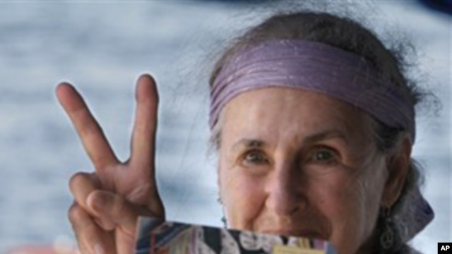 Lillian Rosengarten, 75, of the U.S, one of 9 Jewish activists before setting sail from Turkish-occupied northern Cyprus in a bid to breach the Israeli naval blockade of Gaza, 26 Sep 2010
