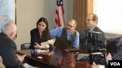 Cuban blogger Yoani Sanchez meets with VOA and IBB executives.