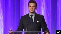 Justin Timberlake speaks at the Hollywood Foreign Press Association Grants Banquet at the Beverly Wilshire hotel on Aug. 4, 2016, in Beverly Hills, Calif.