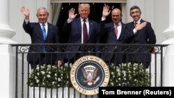 Mutungamiri wehurumende yeIsrael VaBenjamin Netanyahu, mutungamiri weAmerica VaDonald Trump, gurukota reBahrain, VaAbdullatif Al Zayani negurukota reUnited Arab Emirates (UAE) VaAbdullah bin Zayed