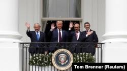 USA, Washington, Israel's Prime Minister Benjamin Netanyahu, U.S. President Donald Trump, Bahrain?s Foreign Minister Abdullatif Al Zayani and United Arab Emirates (UAE) Foreign Minister Abdullah bin Zayed