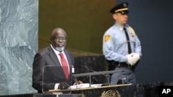 Malam Bacai Sanhá discursando perante a Assembleia Geral da ONU