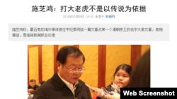 施芝鸿:打大老虎不是以传说为依据 (财新网截图)