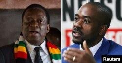 짐바브웨의 에머슨 음난가그와 현 대통령(왼쪽)과 최대 야당 민주변혁운동(MDC) 넬슨 차미사 대표.