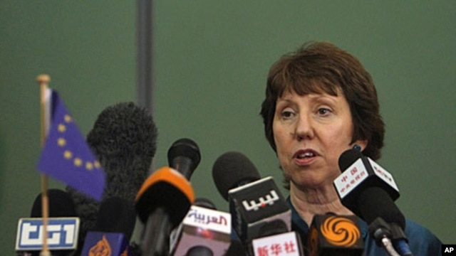 European Union foreign policy chief Catherine Ashton speaks during a news conference during her visit to Benghazi, May 22, 2011