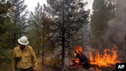 FILE - Ryan Berlin, a public information officer tracking the Bootleg Fire, walks past a burning log near the northwest edge of the fire, July 23, 2021, near Paisley, Ore.