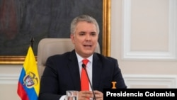 El presidente de Colombia, Iván Duque, fue el primer orador en el seminario web 'Panorama Económico de América Latina 2020', celebrado el 24 de septiembre de 2020.