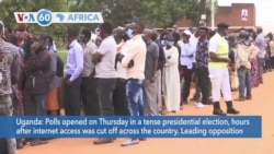 VOA60 Africa - Ugandans vote in a tense presidential election