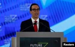 U.S. Secretary of the Treasury Steven Mnuchin speaks during the Future Investment Initiative conference in Riyadh, Saudi Arabia, Oct. 25, 2017.