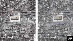 عکس آرشیوی: تصویر ماهوارهای که عفو بینالملل از مسجد جامع شهر حلب در سوریه منتشر کرد – ۱ مارس ۲۰۱۳ (اسفند ۱۳۹۱)
