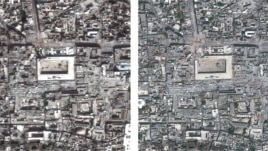 Left: Great Mosque of Aleppo, Syria (a UNESCO world heritage site), on March 1, 2013; right: on May 26, 2013, (composite satellite photo made available by Amnesty International on August 7, 2013).