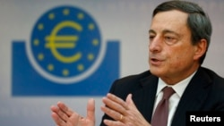 Mario Draghi, President of the European Central Bank, addresses the media during his monthly news conference in Frankfurt, March 7, 2013.