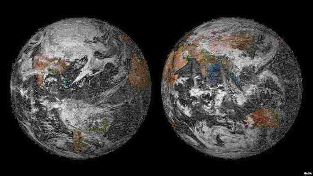 "The 3.2 gigapixel Global Selfie mosaic, hosted by GigaPan, was made with 36,422 individual images that were posted to social media sites on or around Earth Day. NASA asked people around the world to answer a question ""Where are you on Earth Right Now?"" on social media, with a selfie. The goal was to use each picture as a pixel in the creation of a ""Global Selfie"" – a mosaic image that would look like Earth appeared from space on Earth Day. People on every continent – 113 countries and regions in all – posted selfies."