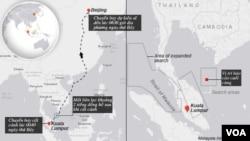 Bản đồ tuyến bay của máy bay Malaysia bị mất tích