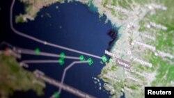 湯森路透Eikon船運追蹤屏幕顯示貨船返回朝鮮南浦港。(2017年4月11日)