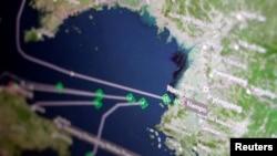 汤森路透Eikon船运追踪屏幕显示货船返回朝鲜南浦港。(2017年4月11日)