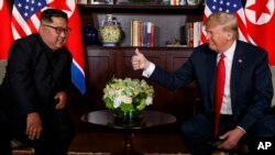 FILE - U.S. President Donald Trump meets with North Korean leader Kim Jong Un on Sentosa Island in Singapore, June 12, 2018.