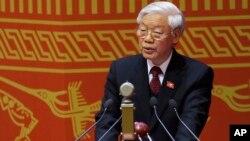 2016年1月21日越南共产党中央委员会总书记阮富仲在河内越南共产党第12届代表大会上致辞