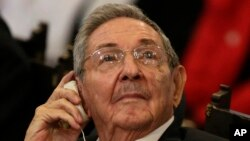 Cuba's President Raul Castro listens to a speech by Canada's Prime Minister Justin Trudeau at Havana University in Havana, Cuba, Nov. 16, 2016.