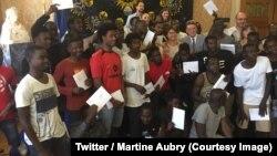 Quarante-deux Soudanais accueillis à Lille en France ont obtenu le statut de réfugié, 3 août 2018. (Twitter/ Martine Aubry)