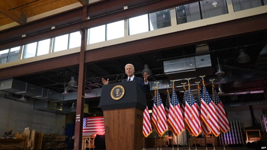 拜登总统在宾夕法尼亚州匹茨堡讲话。(2021年3月31日)