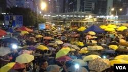 香港各界集會紀念佔中滿月