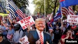 喬治亞州的選民在亞特蘭大集會,抗議11月3日的選舉結果不公(2020年11月21日)