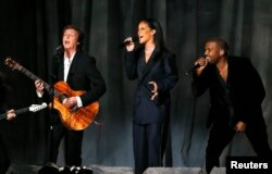 "From left, Paul McCartney, Rihanna and Kanye West perform ""FourFiveSeconds"" at the 57th annual Grammy Awards in Los Angeles, California, Feb. 8, 2015."