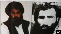 El mulá Mansoor (izq.) reemplazó al fundador del grupo, el mulá Omar (der.) tras su muerte en 2013 y hecha pública el año pasado por el gobierno afgano.