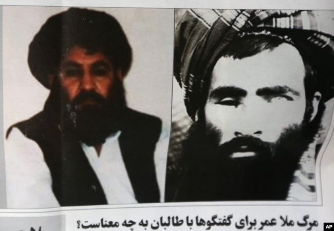 ملا عمر (دائیں جانب) کی موت کے بعد ملا اختر منصور (بائیں جانب) طالبان کے سربراہ بنے تھے۔ (فائل فوٹو)