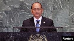 Burma's President Thein Sein addresses the 67th United Nations General Assembly at U.N. Headquarters in New York, September 27, 2012.